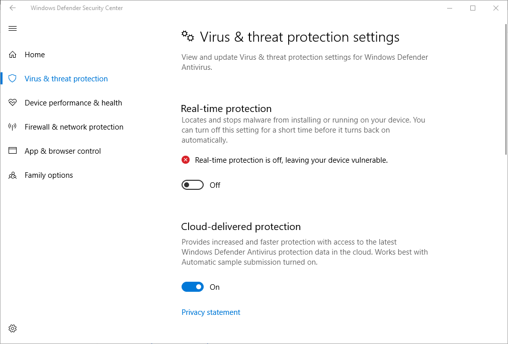 Virus & threat protection settings after changes